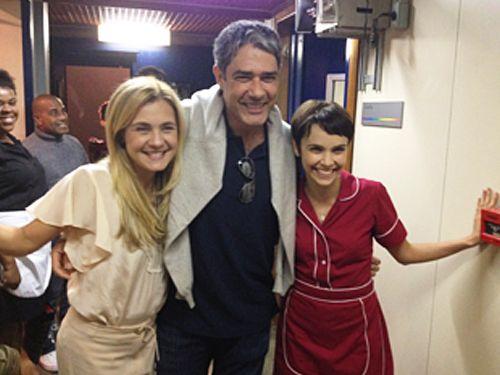Depois de visita a Fátima Bernardes, Bonner tieta elenco de