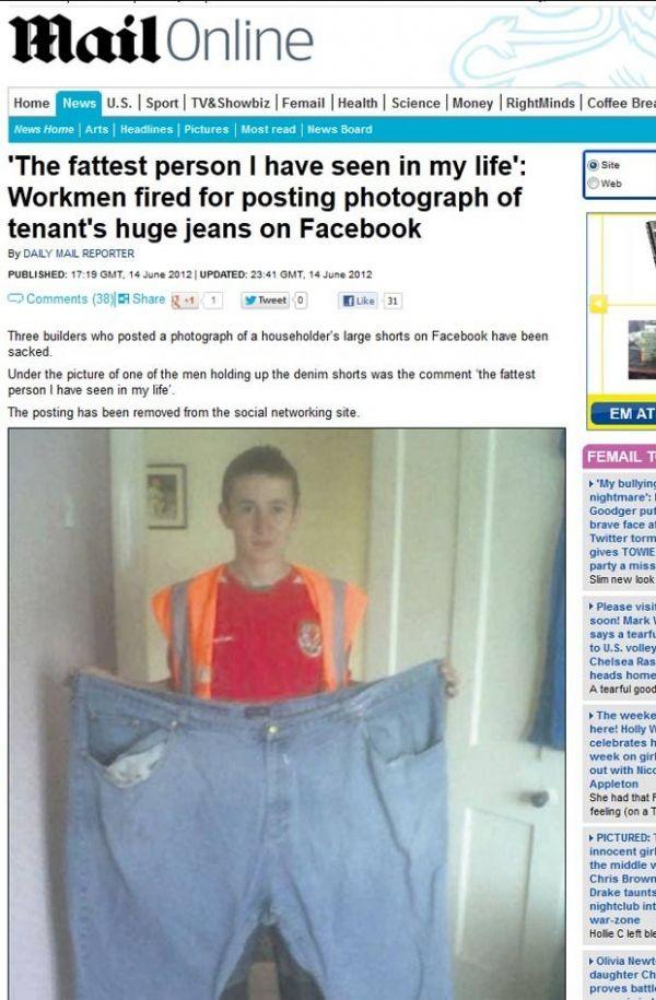 Por postar foto de bermuda de obeso, operários são demitidos
