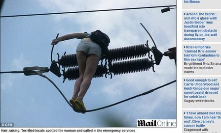 Jovem drogada sobe em torre de alta tensão pensando ser poste