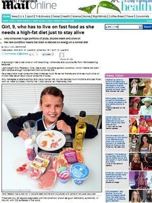 Menina de 9 anos tem que viver à base de fast food para sobreviver