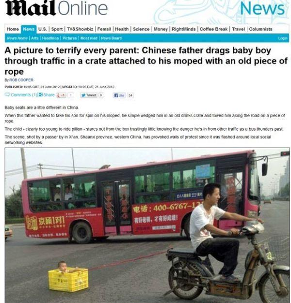 Pai é flagrado em motoneta puxando filho dentro de caixa em rua na China