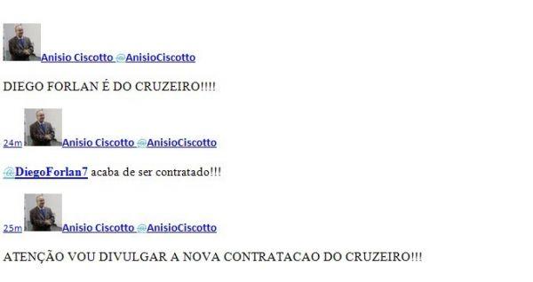 Twitter de conselheiro é invadido e anuncia Forlán no Cruzeiro