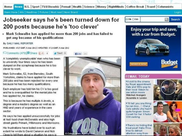 Homem diz que foi rejeitado em 200 vagas de trabalho por ser inteligente