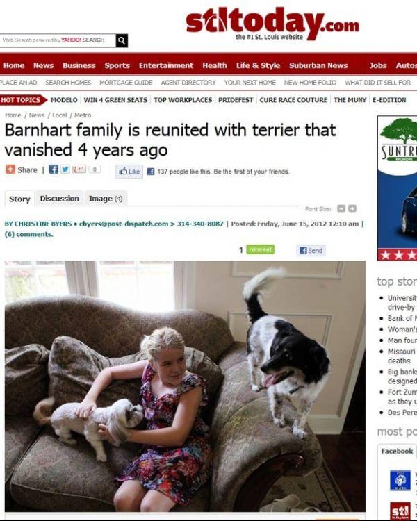 Família reencontra cadela quatro anos após sumiço do animal