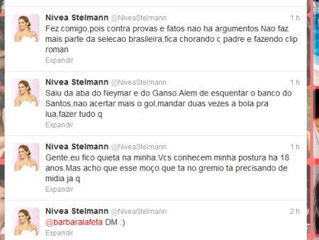 Nívea Stelmann detona com Elano no Twitter e jogador fica quietinho