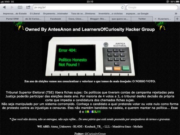PV oficializa mensagem de hackers que invadiram site do partido
