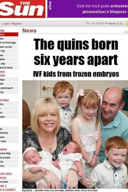 Casal congela embriões e tem quíntuplos nascidos com seis anos de diferença