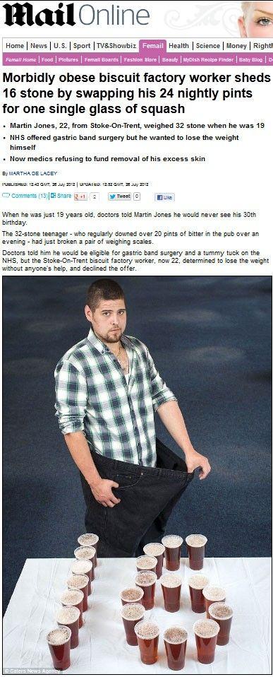 Jovem perde 101 quilos após trocar cerveja por suco de laranja