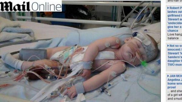 Com filho perto da morte, inglês pede doações de órgãos na TV