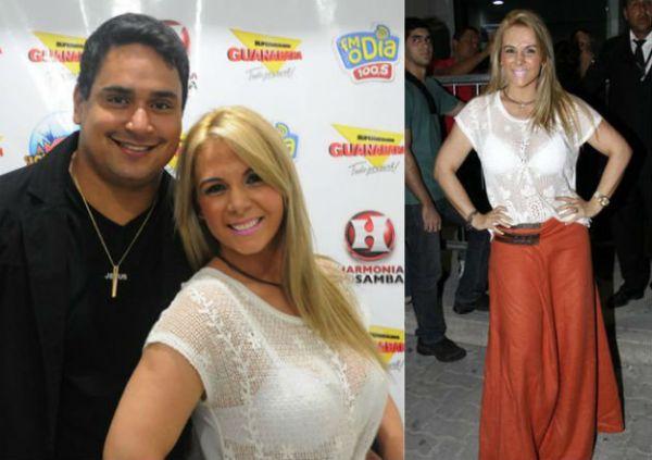 Carla Perez usa blusa de renda transparente em show do Harmonia do Samba