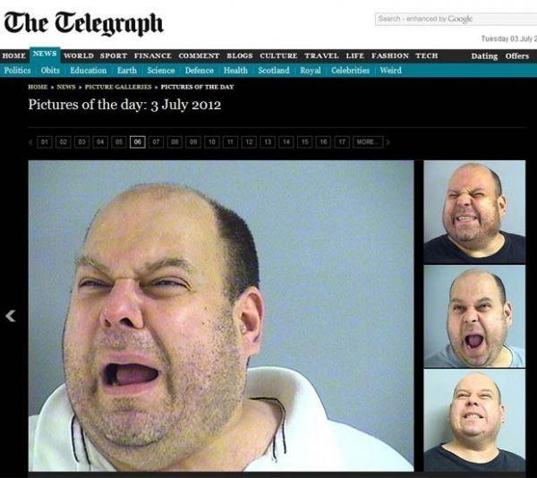 Homem fica famoso ao ser detido e fazer careta na foto da polícia