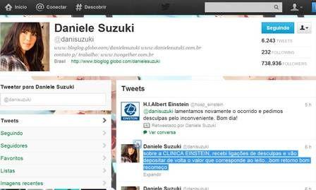 Hospital assume erro e vai ressarcir Daniele Suzuki após cobrança indevida