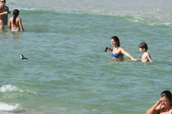 Giovanna Antonelli curti praia com filhos e encontra pinguim