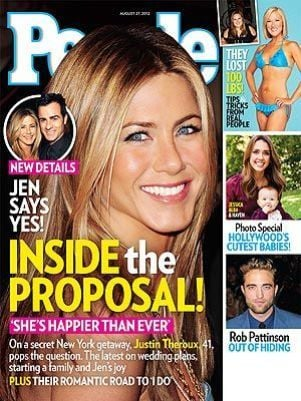 Revista revela detalhes do noivado de Jennifer Aniston e Theroux