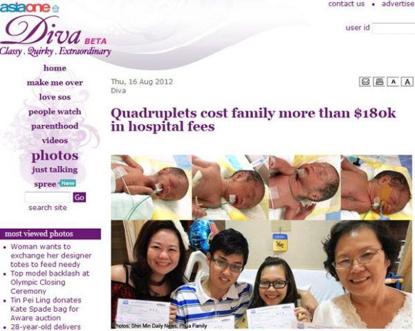 Quadrigêmeos custam mais de R$ 360 mil a família de Cingapura