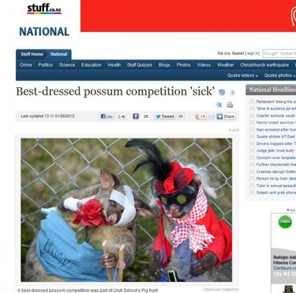 Escola é criticada após concurso de fantasias com gambás mortos