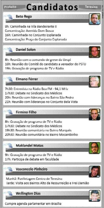 Confira a agenda dos candidatos à Prefeitura de Teresina nessa quinta