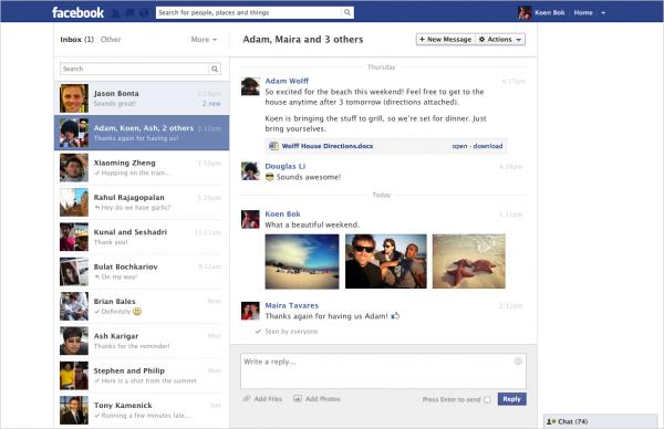 Facebook lança novo design para páginas de mensagens