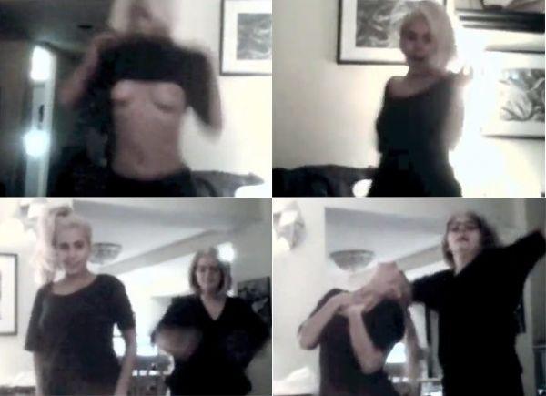 Lady Gaga mostra os seios em vídeo familiar