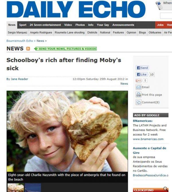 Menino de 8 anos acha vômito de baleia que pode valer R$ 128 mil