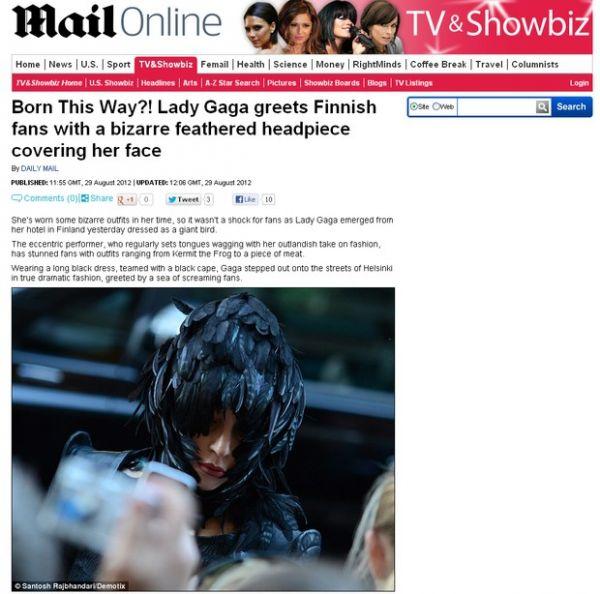 Jornal publica foto de Lady Gaga vestida de pássaro negro na Finlândia