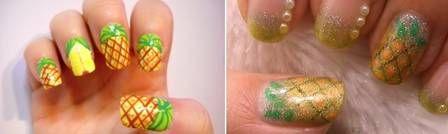 Aprenda como decorar as unhas com estampa de abacaxi