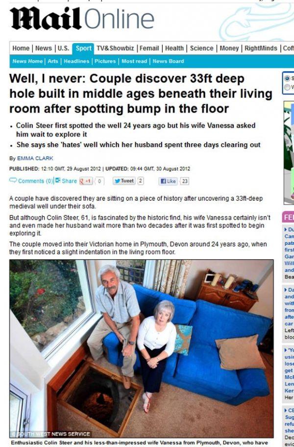 Casal britânico descobre poço do século 16 na sala de casa