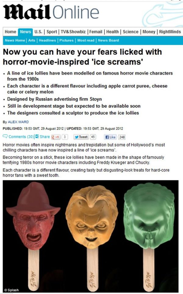 Empresa inventa picolé baseado em personagens de terror