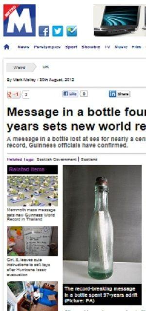 Escocês acha garrafa com mensagem que ficou 97 anos no mar