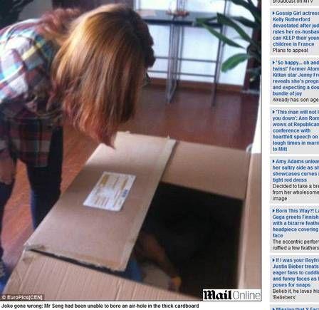 Chinês se envia pelo correio para surpreender a namorada e fica três horas dentro de caixa