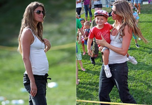 Gisele Bündchen exibe barriga de gravidez em passeio com Benjamin