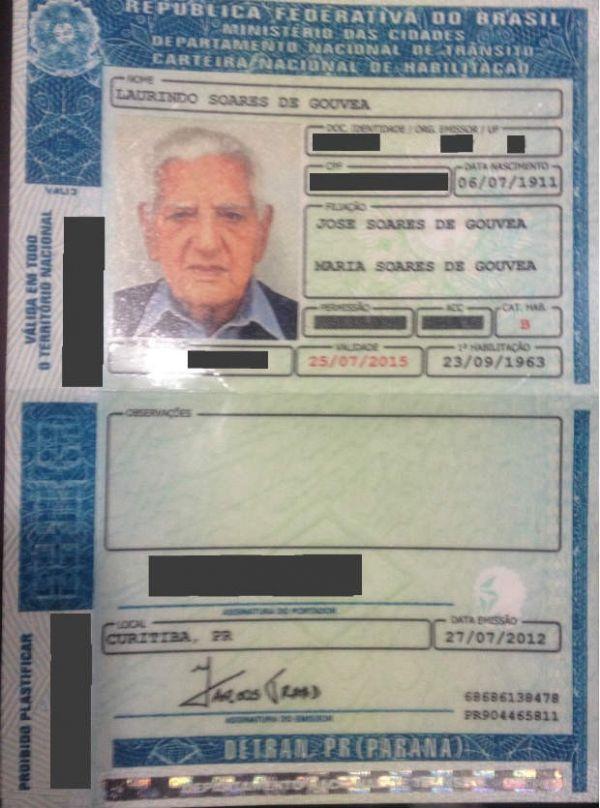 Motorista que nunca  foi multado renova a  carteira aos 101 anos