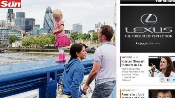 Pais chocam ao deixar criança sozinha no beiral de ponte