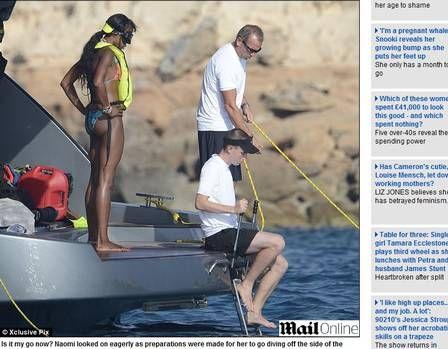 Naomi Campbell aparece careca durante passeio em Ibiza
