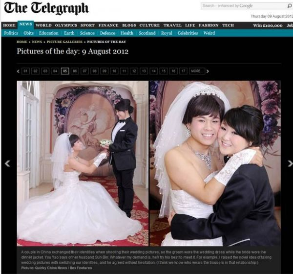 Noivos tiram fotos de casamento com falsas identidades na China