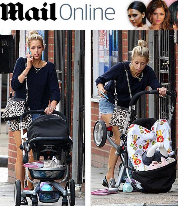 Modelo Peaches Geldof deixa filho cair durante passeio ao falar no celular em Londres; fotos!