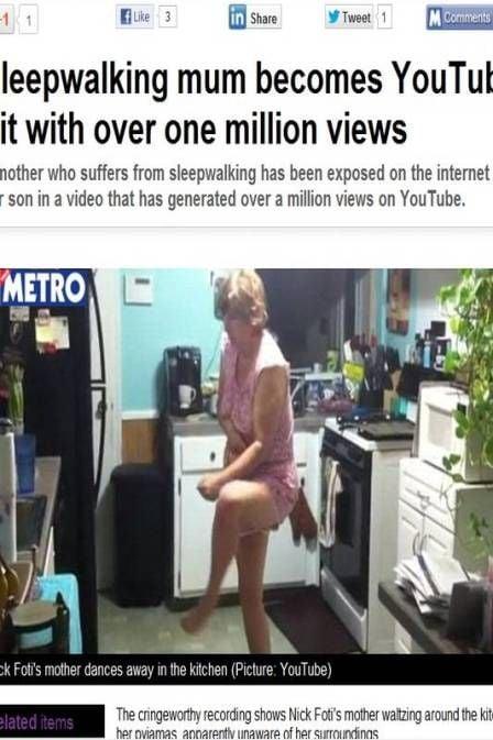 Jovem filma mãe durante crise de sonambulismo e vídeo vira hit