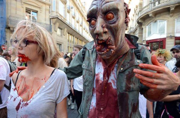 Mortos-vivos invadem ruas de cidade francesa para marcha dos zumbis