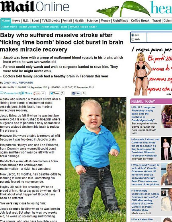 Bebê inglês que teve AVC com duas semanas de vida se recupera bem