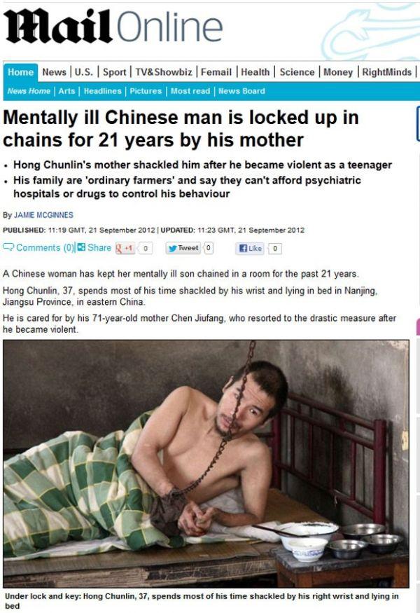 Chinesa mantém filho doente mental acorrentado há 21 anos