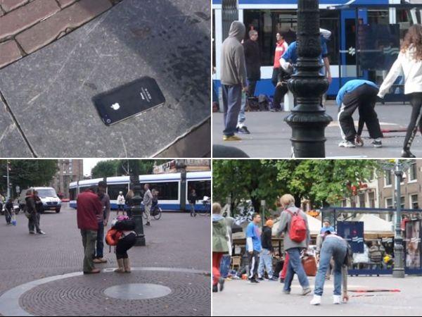 Em pegadinha, iPhone 5 é colado no chão para ver reação das pessoas