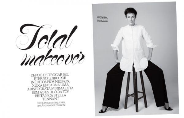 Morena da vez, Xuxa faz ensaio chique com roupas masculinas e saltão; fotos