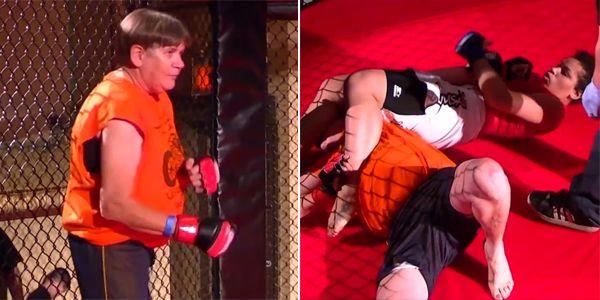 Senhora de 61 anos sobe no ringue para duelo de MMA, mas é finalizada em 20s