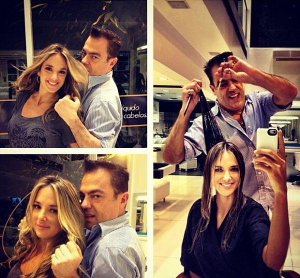 Ticiane Pinheiro posta foto em que aparece cortando o cabelo