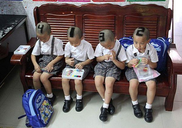 Quadrigêmeos têm cabeça raspada no formato de números para evitar confusão; fotos!