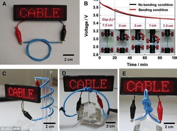 LG cria bateria flexível em forma de cabo que pode até dar nós