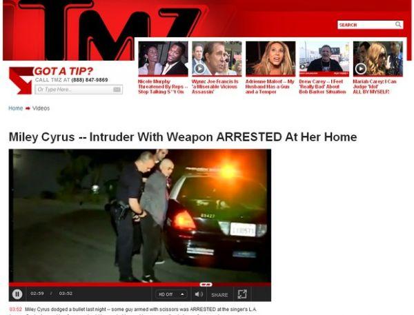 Homem armado com tesouras invade casa de Miley Cyrus
