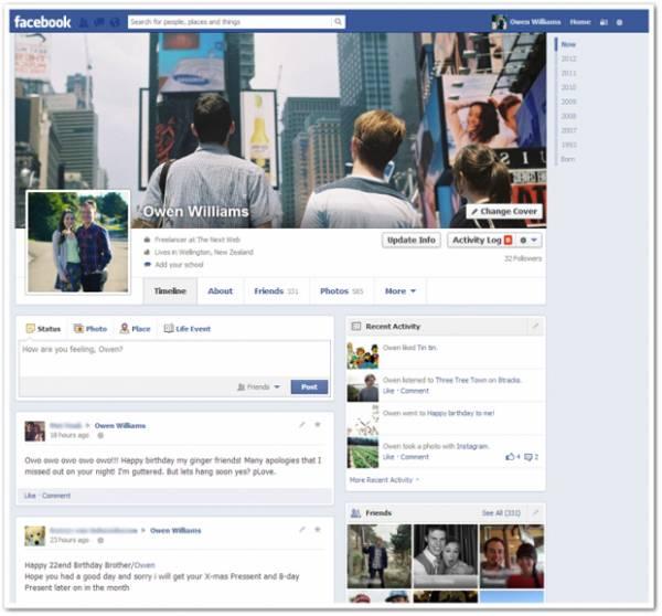 Atualização: Facebook inicia testes de novo visual da Timeline