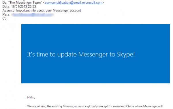 Com fim do MSN, Microsoft pede em email que usuários migrem para o Skype