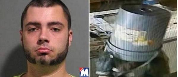 Ladrão esquece sua máscara durante assalto e um usa um balde na cabeça